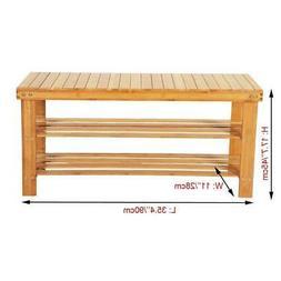 100% Natural Bamboo Shoe Bench 2-Tier Shoe Rack Organizer En