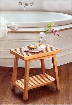 "18"" A GRADE TEAK SIDE TABLE BATH STOOL END SHOWER BENCH PATI"
