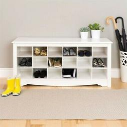 Prepac 18 Cubby Shoe Storage Bench in White