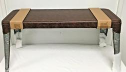2 Distressed Brown Leather Look Metal Benches Silver Metal L