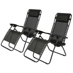 2 Outdoor Zero Gravity Lounge Chair Beach Patio Pool Yard Fo