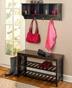 2 PC BLACK Wooden Entryway Wall Shelf & Hall Bench Storage S