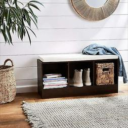 AmazonBasics 3-Cube Entryway Shoe Storage Bench with Cushion