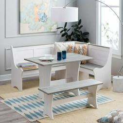 3 pc White Gray Top Breakfast Nook Dining Set Corner Booth B