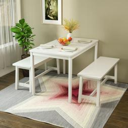 3 PCS Dining Table Set with 2 Benches Solid Pine Wood Kitche