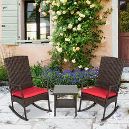 3 Pcs Outdoor Rattan Wicker Rocker Lounge Rocking Chair Pati