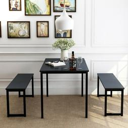 3 Piece Dinning Room Set With 2 Bench For Small Spaces Moder