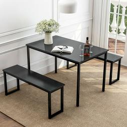 3 Piece MDF Black Dining Set Kitchen Table with Benches for