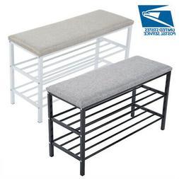 3 Tier Paded Metal Shoe Rack Bench Storage Shelf Organizer S