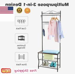 3 Tier Shoe Storage Benches For Entryway Rack Shelf w/ Coat