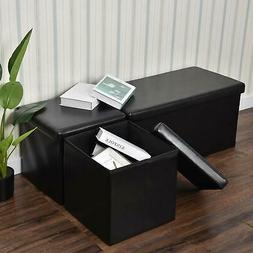 30-Inch Storage Bench Ottoman Chest Folding Foot Rest Faux l