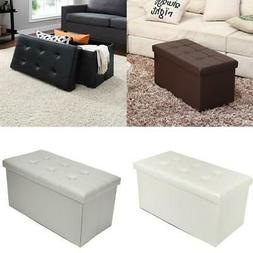 "30"" L Leather Folding Storage Ottoman- Faux Leather Storage"