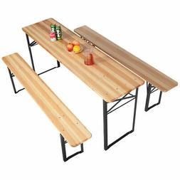 3PCS Picnic Table Outdoor Dining Table Bench Set Folding Din