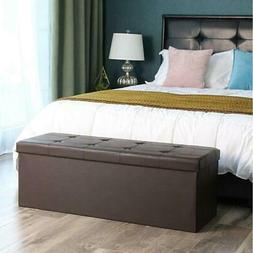 "43"" L PU Shoe Storage Bench Shelf Soft Seat Stool Organizer"