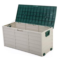 "44"" Deck Storage Box Outdoor Patio Garage Shed Tool Bench Co"