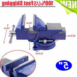 """5"""" Bench Vise with Swivel Locking Base Table top Clamp Heavy"""