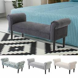 "52"" Modern Rolled Arm Bench Bed End Ottoman Sofa Seat Footre"