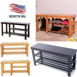 90cm 3Tier Bamboo Stool Shoe Rack Storage Seat Organizer She
