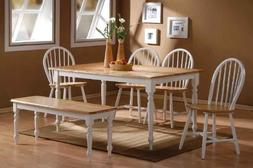 Boraam 86369 Farmhouse 6-Piece Dining Room Set, White/Natura