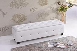 Kings Brand Furniture - White Vinyl Tufted Design Upholstere