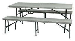 Office Star Resin 3-Piece Folding Bench and Table Set, 2 Ben