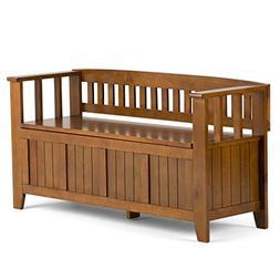 Simpli Home - Acadian Storage Bench - Light Avalon Brown