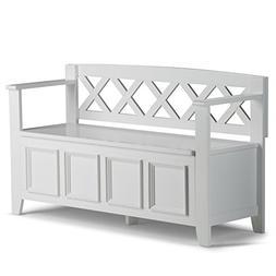 Simpli Home - Amherst Entryway Storage Bench - White