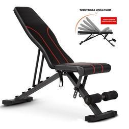 Adjustable Bench Press Flat Incline Decline Weight Workout F