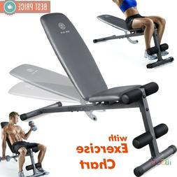 ADJUSTABLE WEIGHT BENCH Flat Incline Decline Exercise Streng