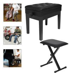 Adjustable Wooden Piano Bench Stool With Sheet Music Storage