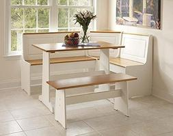 Linon Ardmore Breakfast Corner Nook Table Set Wood Dining Se