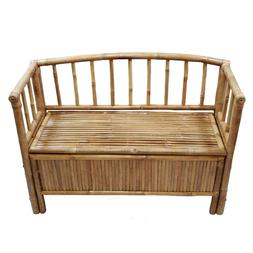 Bamboo Storage Bench with Arms and Hinged Seat in Natural