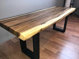 Bench solid chamca wood and metal leg, for dining, kitchen,