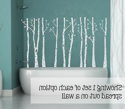 Birch Trees Branches and Birds Vinyl Wall Art Decals Modern
