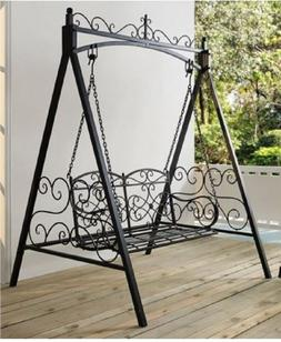 Black 4' Metal Porch Swing w/ Stand Durable Outdoor Swing