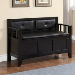 Black Padded Wooden Storage Bench Back Entryway Mud Room Bed