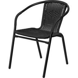 Flash Furniture Black Rattan Indoor-Outdoor Restaurant Stack