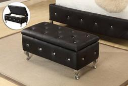 Black Storage Bench Ottoman Bedroom Upholstered Furniture Co