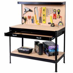 Black Work bench Tools Storage Shelf with Drawer Workbench G