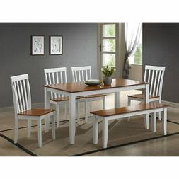 Boraam Bloomington 6 Piece Dining Set with Bench - White & H