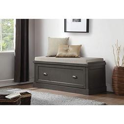 Benzara BM185368 Wooden Bench with Storage Drawer, Gray