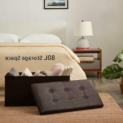 Brown Folding Cuboid Ottoman Bench Pouffe Storage Box Lounge