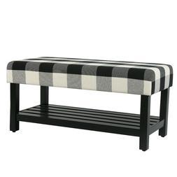 Cierri Buffalo Plaid Bench with Storage Shelf in a Rich Blac