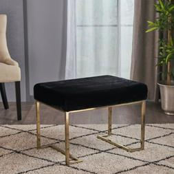 Cecilia Modern Glam Faux Fur Ottoman Bench with Gold C-Shape