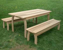 Cedar Contoured Picnic Table with Two Benches Three Piece Fa