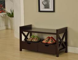 King's Brand Cherry Finish Wood Shoe Storage Bench With Draw