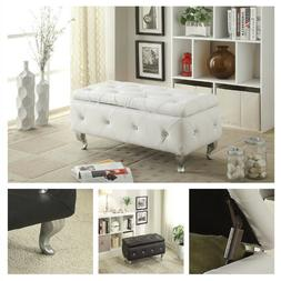 Leather Storage Bench Trunk Chest Upholstered Modern Footres