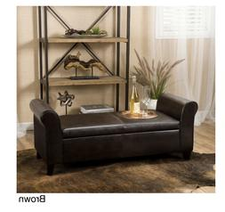 Christopher Knight Faux Leather Armed Storage Ottoman Bench