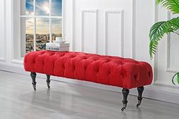 Classic Tufted Velvet Bedroom Vanity Bench with Casters