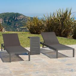Coral Bay Outdoor Gray Aluminum Chaise Lounge and C-Shaped S